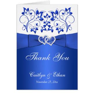 Azul, florais branco, corações que Wedding cartões
