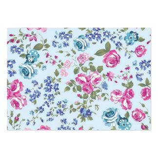 azul floral de rosa e do imagem cartão de visita grande