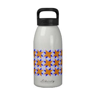 Azul/laranja pálidos da estrela do bloco da edredã garrafa de água esportiva