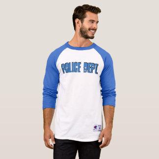 Azul longo da luva da camisa do Raglan do
