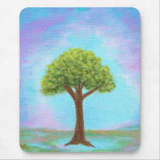 Azul lunático da arte da paisagem da árvore mouse pad