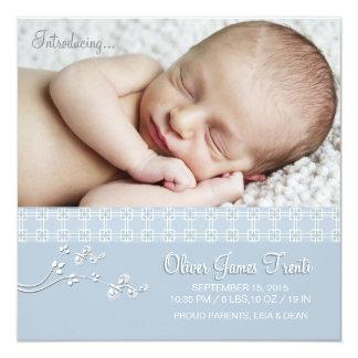Azul macio da paixão - anúncio do nascimento da convite quadrado 13.35 x 13.35cm