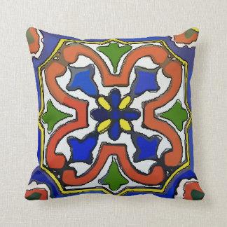 Azul mexicano do azulejo almofada