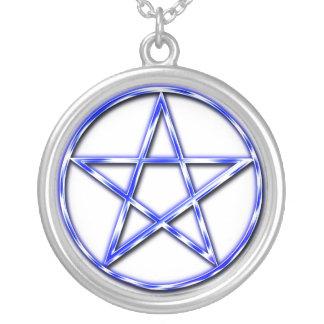 Azul místico colar com pendente redondo