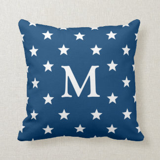 Azul monograma da estrela de cinco pontos almofada