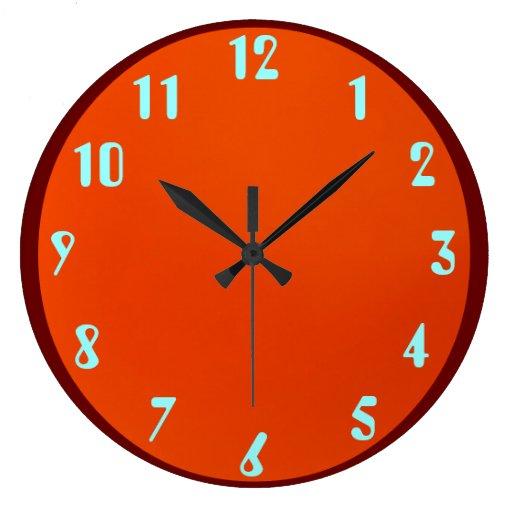 Azul na laranja relógios para pendurar