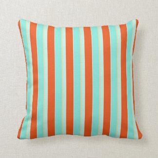 Azul na moda do Aqua da listra e laranja da Travesseiro