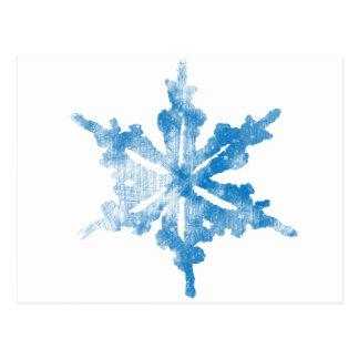 Azul no design gelado branco do floco de neve cartão postal
