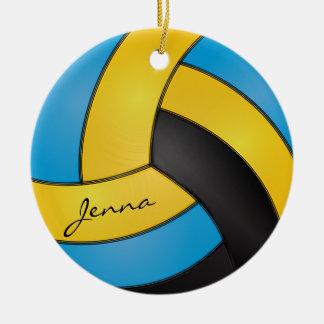 Azul, nome amarelo e preto do ouro do voleibol | ornamento de cerâmica