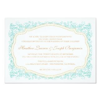 Azul ornamentado do vintage & convite do casamento convite 12.7 x 17.78cm