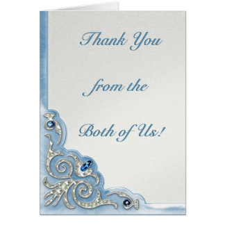 Azul perolado (obrigado você nota) cartão de nota