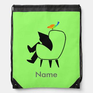 Azul personalizado jornal da leitura do pássaro da backpacks
