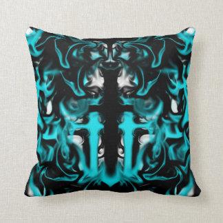 Azul, preto e branco com cruz almofada