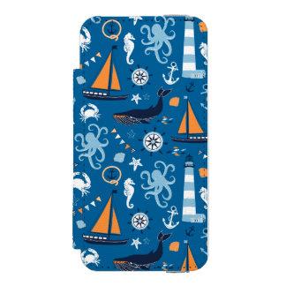 Azul profundo todas as coisas náuticas capa carteira incipio watson™ para iPhone 5