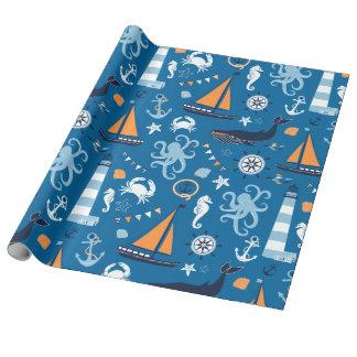 Azul profundo todas as coisas náuticas papel de presente