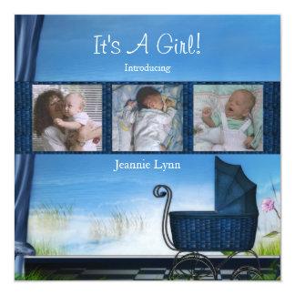 Azul seu um anúncio do nascimento do menino convite personalizados