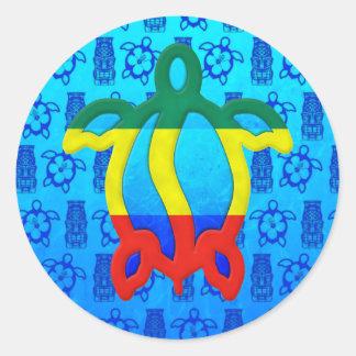 Azul Tiki de Rasta Honu Adesivo Redondo