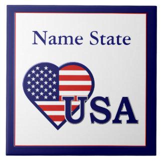 Azulejo americano dos EUA da bandeira do coração