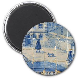 Azulejo azul com cena da rua ímã redondo 5.08cm