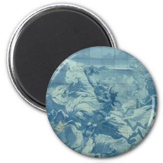 Azulejo azul com cena de batalha ímã redondo 5.08cm