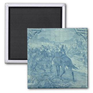 Azulejo azul com cena de batalha ímã quadrado