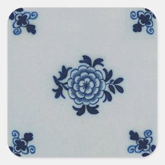Azulejo azul de Delft do Antiquarian clássico - Adesivos Quadrados