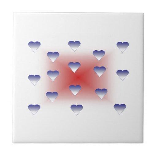 Azulejo azul dos corações do amor