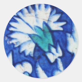 Azulejo azul e branco do vintage do design floral adesivo