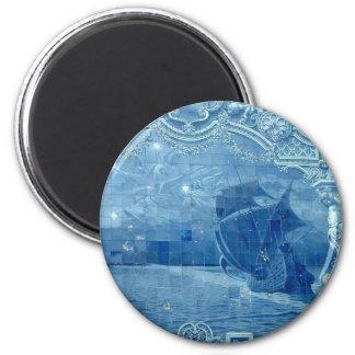 Azulejo azul ímã redondo 5.08cm