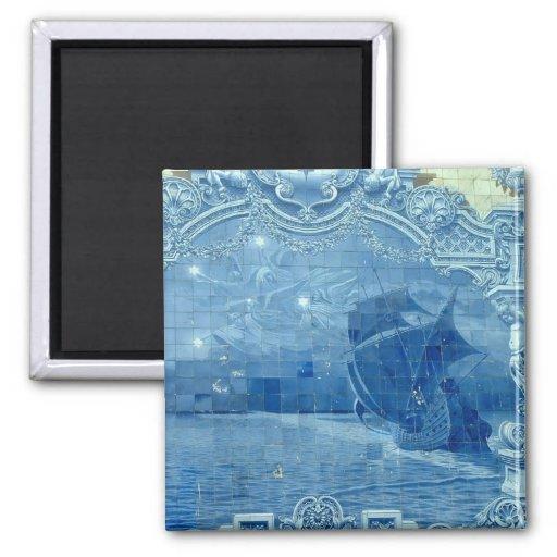 Azulejo azul imã de geladeira