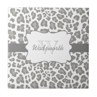 Azulejo branco e cinzento do leopardo