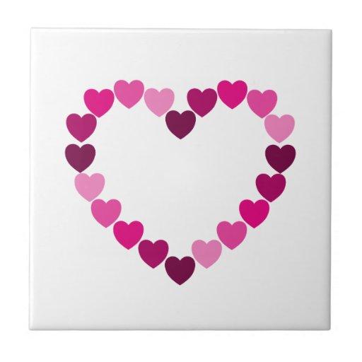 Azulejo cor-de-rosa do coração dos corações