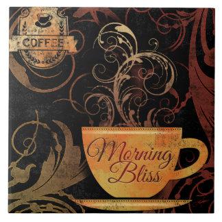 Azulejo da felicidade da manhã dos amantes do café