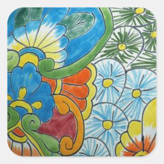 Azulejo da flor da arte popular adesivo quadrado