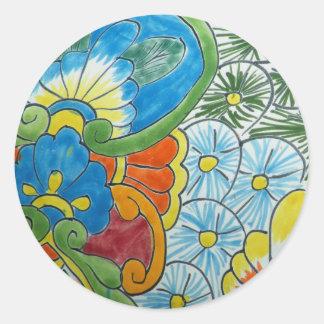 Azulejo da flor da arte popular adesivos em formato redondos