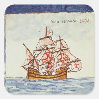 Azulejo de Azulejos que descreve um navio, de Adesivo Quadrado
