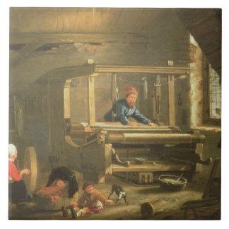 Azulejo De Cerâmica A oficina de um tecelão, 1656 (óleo em canvas)
