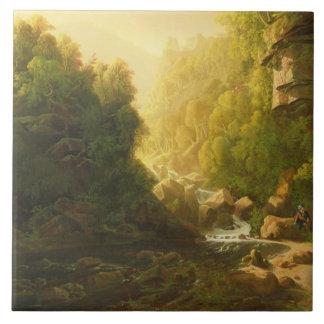 Azulejo De Cerâmica A torrente da montanha, c.1820-30 (óleo em canvas)
