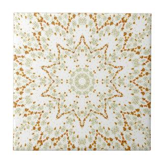 Azulejo De Cerâmica Caleidoscópio de flores douradas