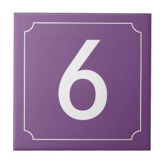 Azulejo De Cerâmica Cartaz roxo do número ou da letra