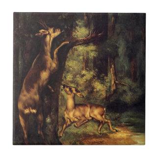 Azulejo De Cerâmica Cervos masculinos e fêmeas nas madeiras por