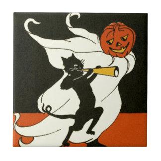 Azulejo De Cerâmica Chifre do fantasma do gato preto da lanterna de