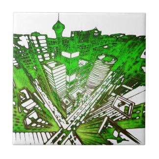 Azulejo De Cerâmica city em 3 point version perspective special green