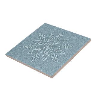 Azulejo De Cerâmica Coleção azul do nó do floco de neve