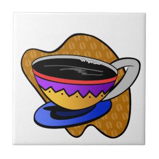 Azulejo De Cerâmica Copo de café completo da cor