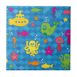 Azulejo De Cerâmica Criaturas parvas do mar