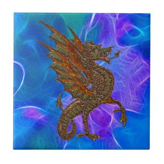 Azulejo De Cerâmica Dragão celta de Galês no ouro em azuis II