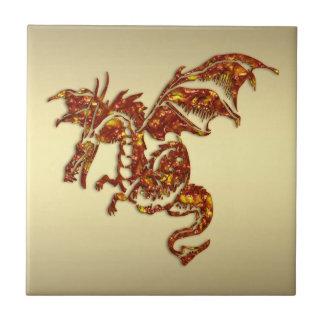 Azulejo De Cerâmica Dragão flamejante no ouro