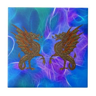 Azulejo De Cerâmica Dragões celtas de Galês no ouro em azuis III