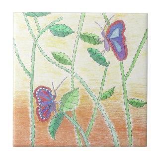 Azulejo De Cerâmica Duas borboletas na floresta